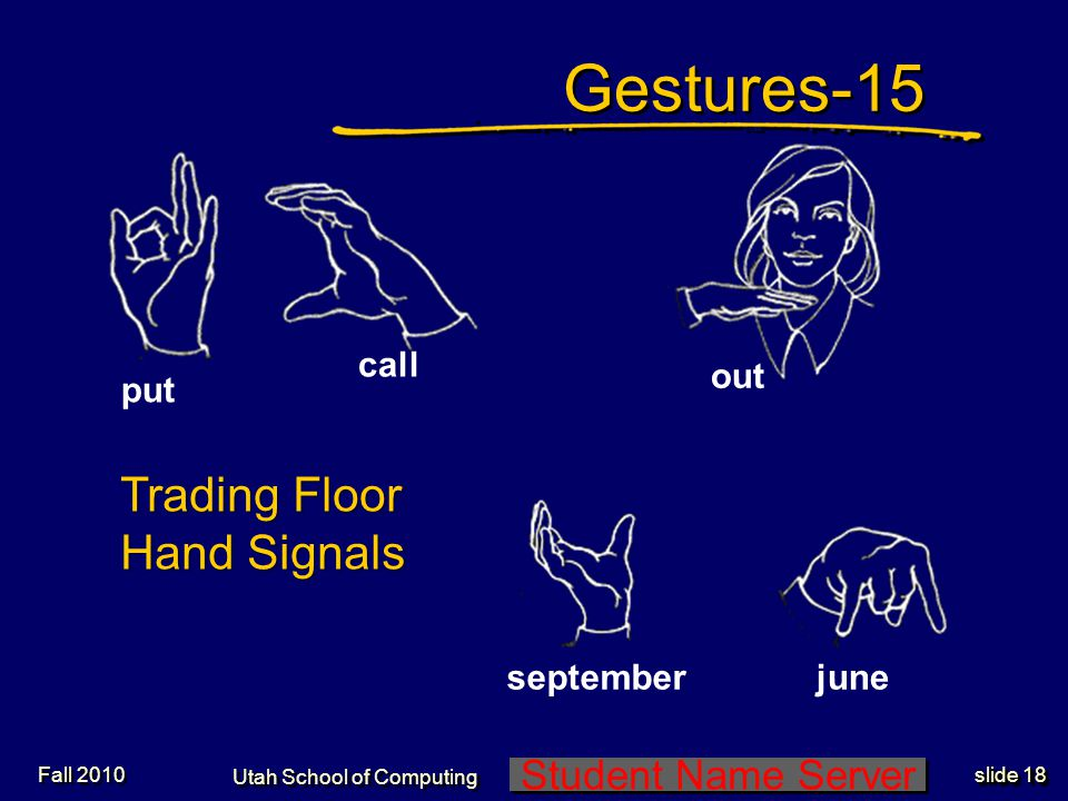 Student Name Server Utah School of Computing slide 17 Gestures-14Gestures-14 1 10 100 Trading Floor Hand Signals Fall 2010