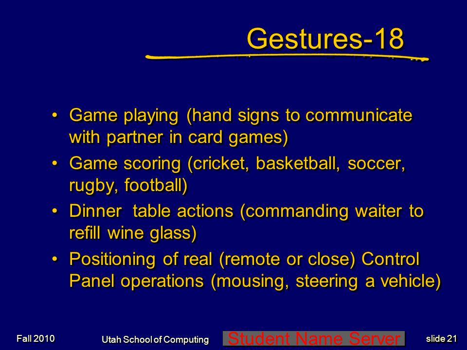 Student Name Server Utah School of Computing slide 20 Gestures-17Gestures-17 Dance (Balinese dancing)Dance (Balinese dancing) Gesturing by singers (ha