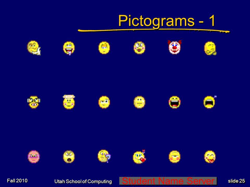 Student Name Server Utah School of Computing slide 24 Gestures-8Gestures-8 Shimmering hand (maybe, maybe not)Shimmering hand (maybe, maybe not) Sign l