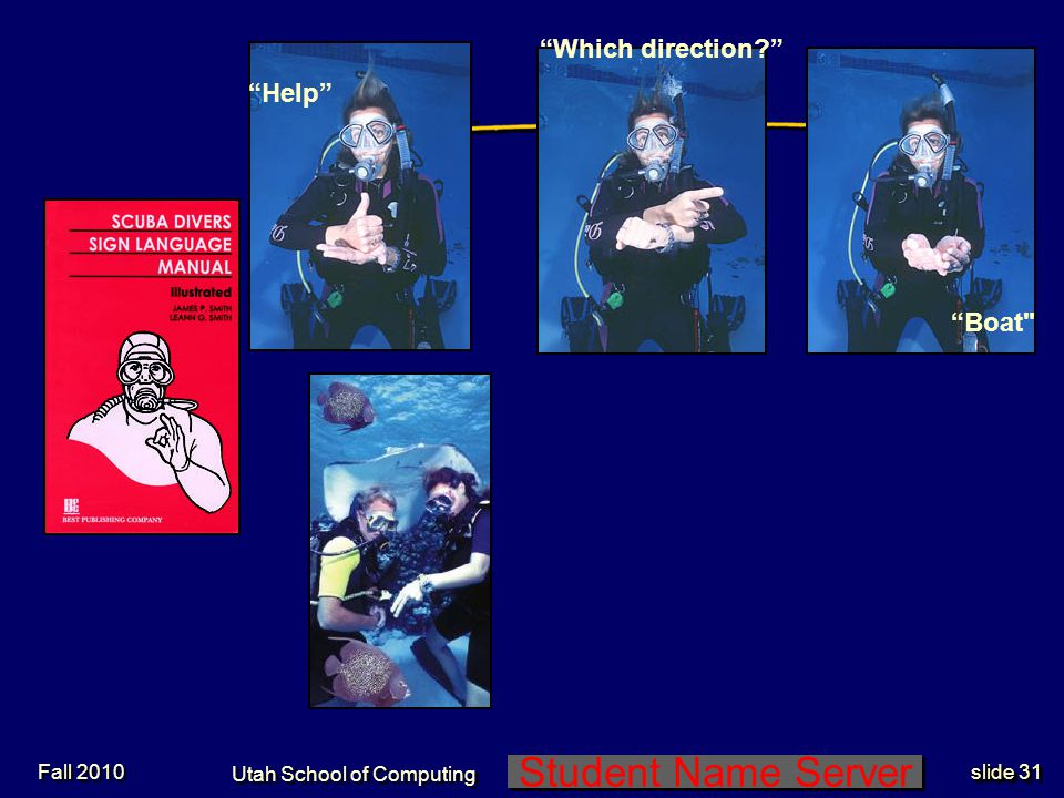 Student Name Server Utah School of Computing slide 30 Special Need Group: Divers Fall 2010