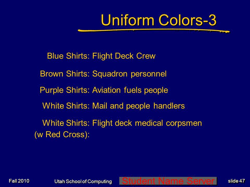 Student Name Server Utah School of Computing slide 46 Uniform Colors-2 Fall 2010 Yellow Shirts:Flight Deck Officers and Plane Directors Green Shirts:C