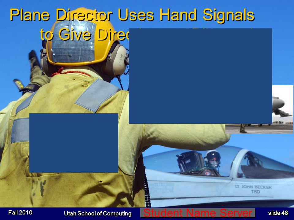 Student Name Server Utah School of Computing slide 47 Uniform Colors-3 Fall 2010 Blue Shirts:Flight Deck Crew Brown Shirts:Squadron personnel Purple S