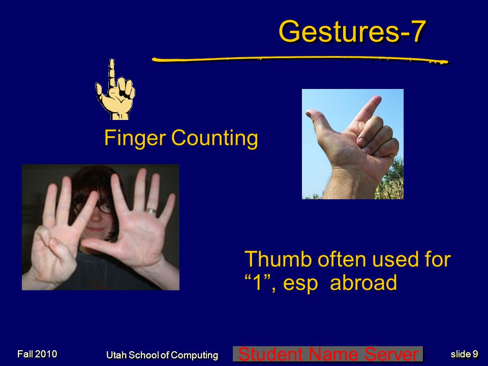 Student Name Server Utah School of Computing slide 8 Gestures-6Gestures-6 Waving and Saluting Fall 2010