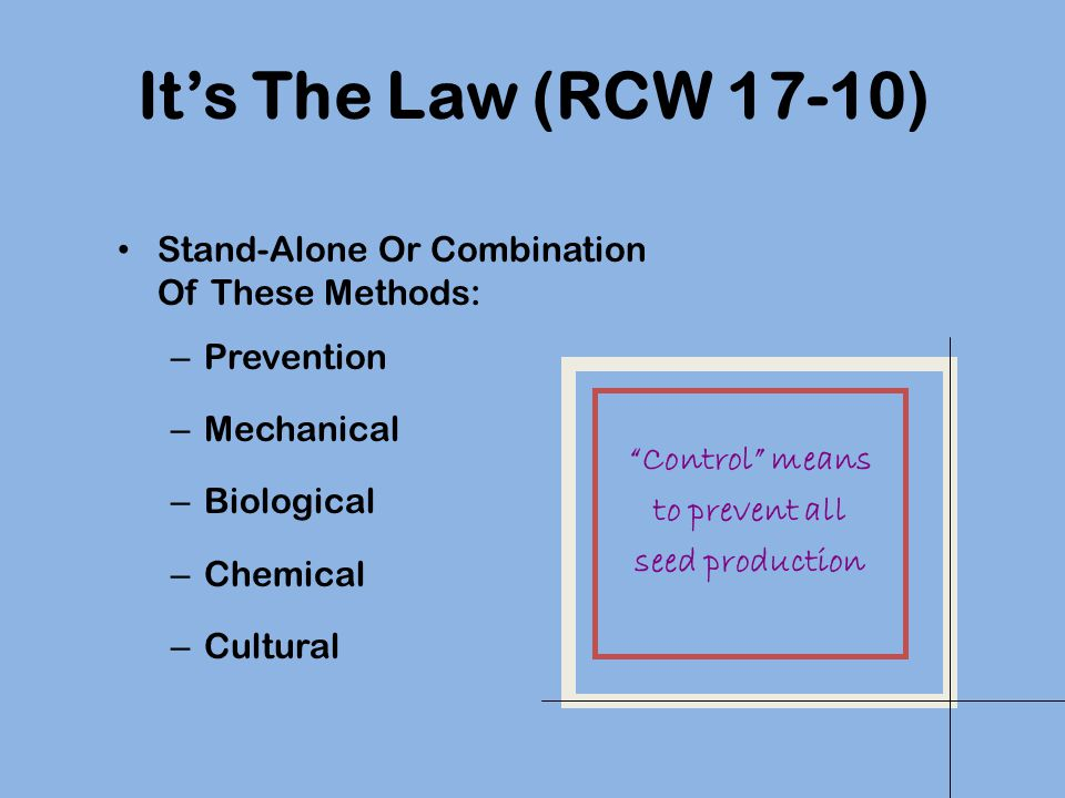 Its The Law (RCW 17-10) Stand-Alone Or Combination Of These Methods: – Prevention – Mechanical – Biological – Chemical – Cultural Control means to pre