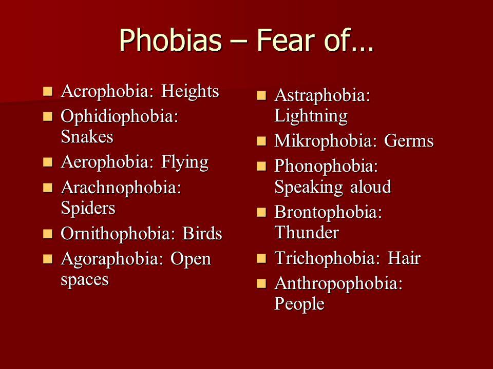 Phobias – Fear of… Acrophobia: Heights Acrophobia: Heights Ophidiophobia: Snakes Ophidiophobia: Snakes Aerophobia: Flying Aerophobia: Flying Arachnophobia: Spiders Arachnophobia: Spiders Ornithophobia: Birds Ornithophobia: Birds Agoraphobia: Open spaces Agoraphobia: Open spaces Astraphobia: Lightning Astraphobia: Lightning Mikrophobia: Germs Mikrophobia: Germs Phonophobia: Speaking aloud Phonophobia: Speaking aloud Brontophobia: Thunder Brontophobia: Thunder Trichophobia: Hair Trichophobia: Hair Anthropophobia: People Anthropophobia: People