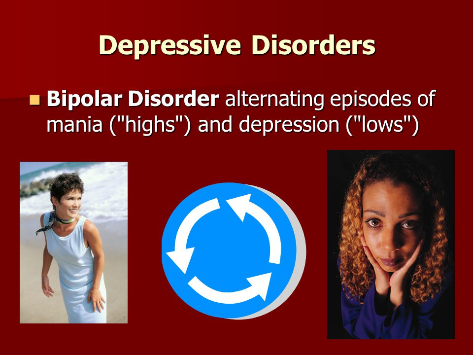 Depressive Disorders Bipolar Disorder alternating episodes of mania ( highs ) and depression ( lows ) Bipolar Disorder alternating episodes of mania ( highs ) and depression ( lows )