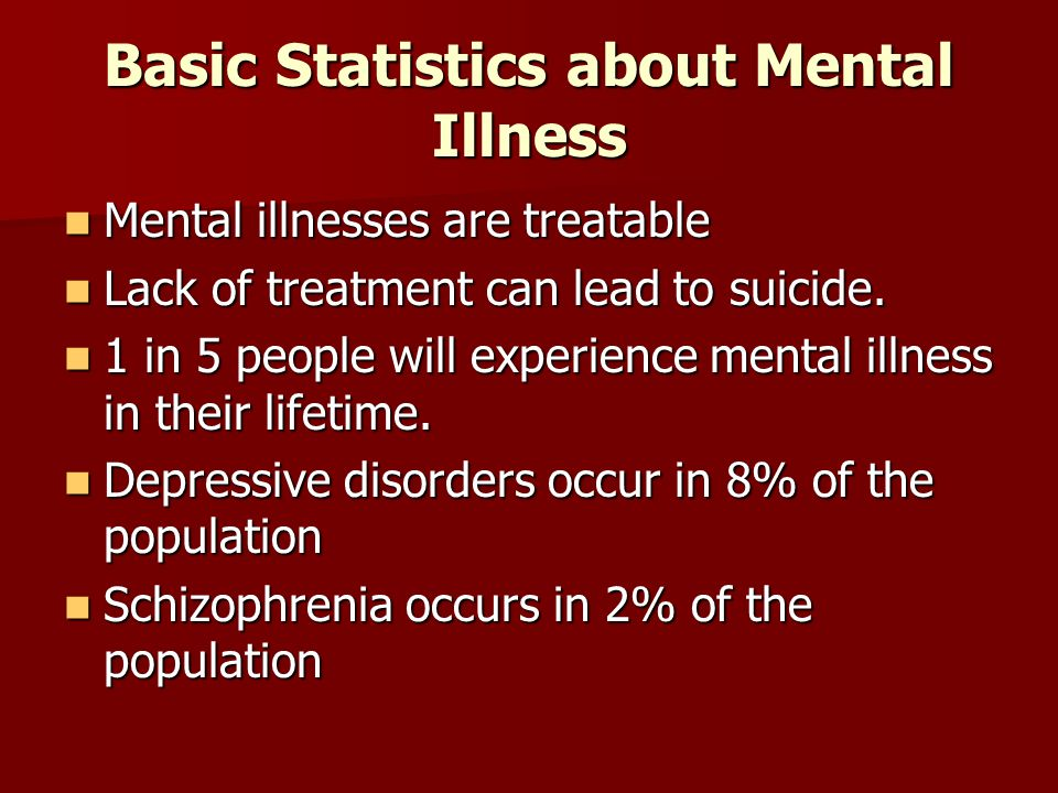 Basic Statistics about Mental Illness Mental illnesses are treatable Mental illnesses are treatable Lack of treatment can lead to suicide.