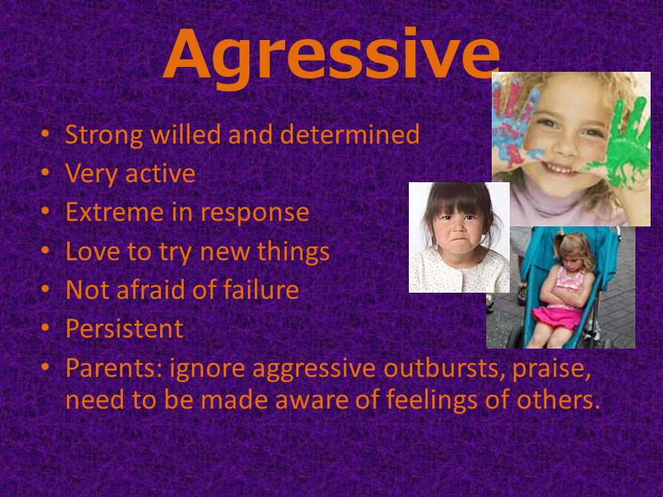 Agressive Strong willed and determined Very active Extreme in response Love to try new things Not afraid of failure Persistent Parents: ignore aggressive outbursts, praise, need to be made aware of feelings of others.