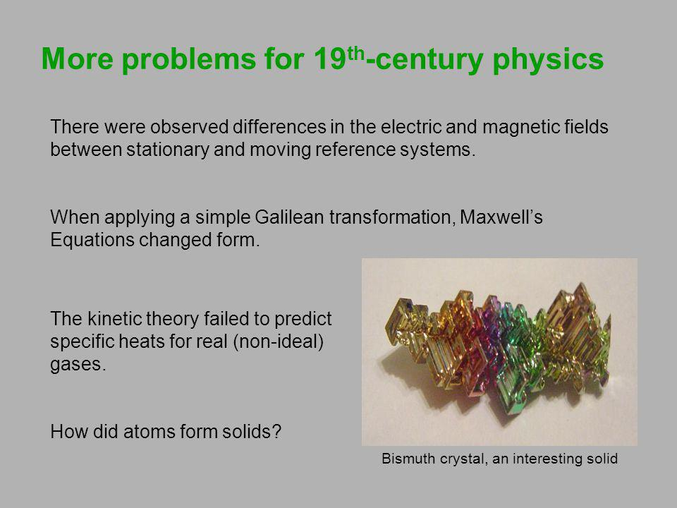 More problems for 19 th -century physics There were observed differences in the electric and magnetic fields between stationary and moving reference s