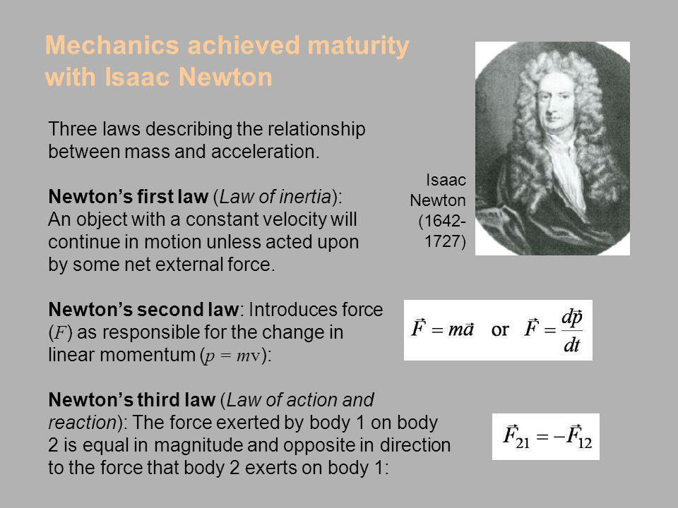 Newtons third law (Law of action and reaction): The force exerted by body 1 on body 2 is equal in magnitude and opposite in direction to the force tha