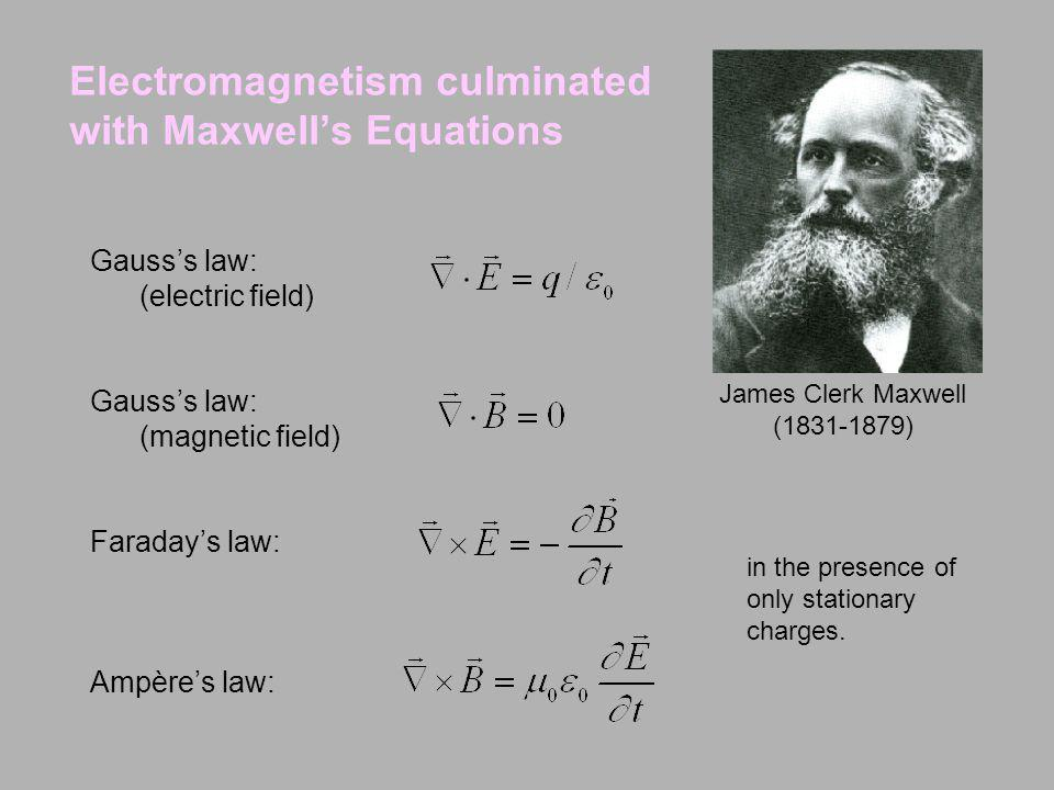Electromagnetism culminated with Maxwells Equations Gausss law: (electric field) Gausss law: (magnetic field) Faradays law: Ampères law: James Clerk M