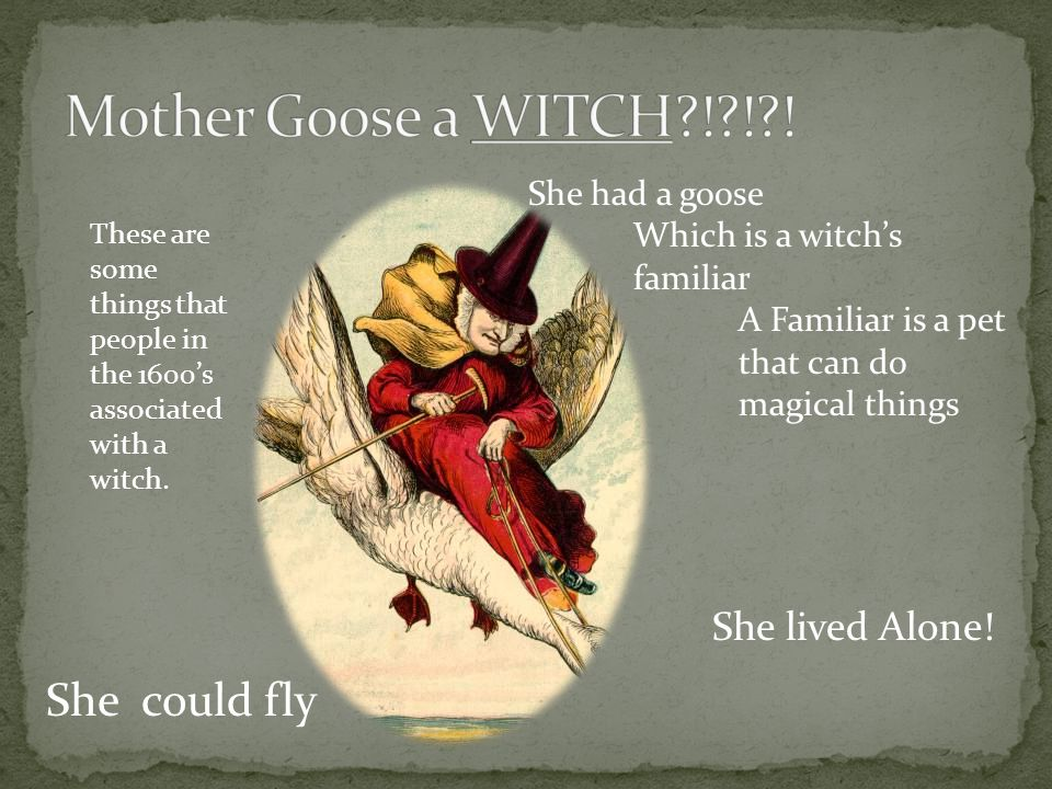 She could fly She had a goose Which is a witchs familiar A Familiar is a pet that can do magical things She lived Alone.