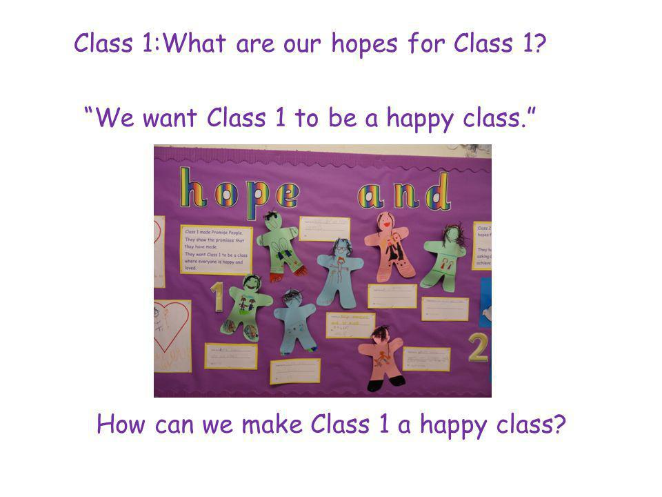 Class 1:What are our hopes for Class 1. We want Class 1 to be a happy class.