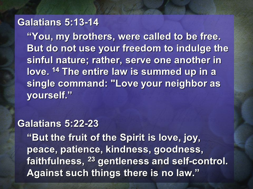 Galatians 5:13-14 You, my brothers, were called to be free. But do not use your freedom to indulge the sinful nature; rather, serve one another in lov