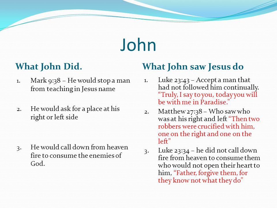 John What John Did. What John saw Jesus do 1.
