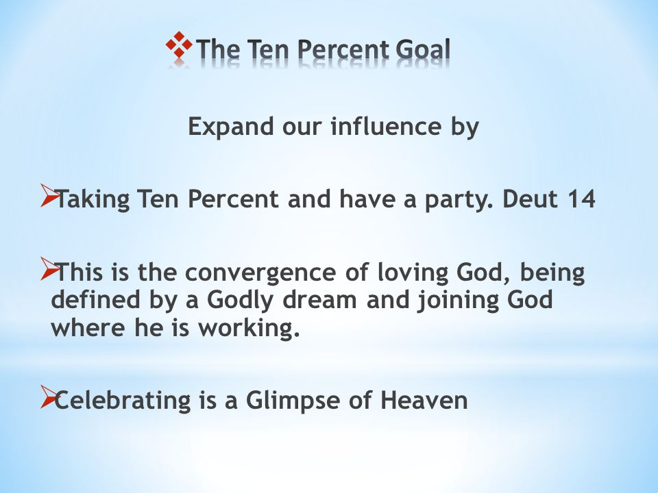 Expand our influence by Taking Ten Percent and have a party.