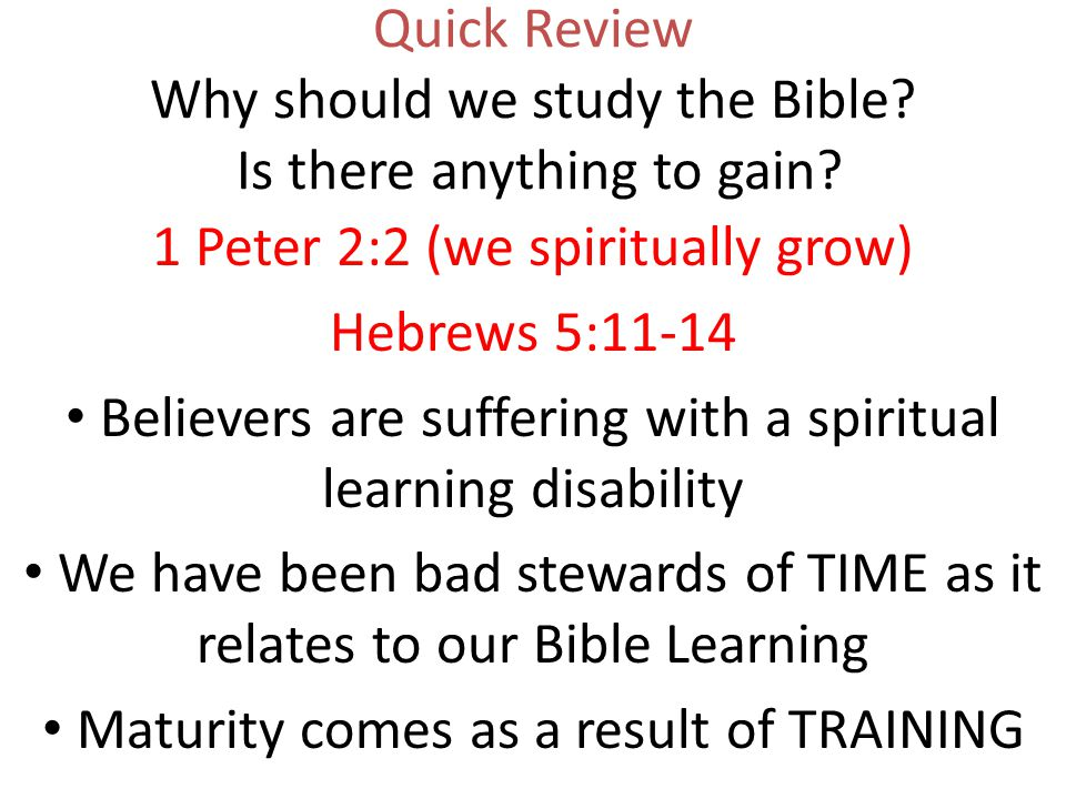 Quick Review Why should we study the Bible. Is there anything to gain.