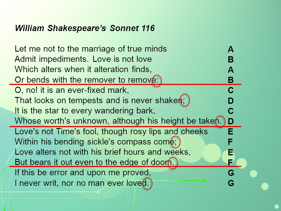William Shakespeares Sonnet 116 Let me not to the marriage of true minds Admit impediments. Love is not love Which alters when it alteration finds, Or