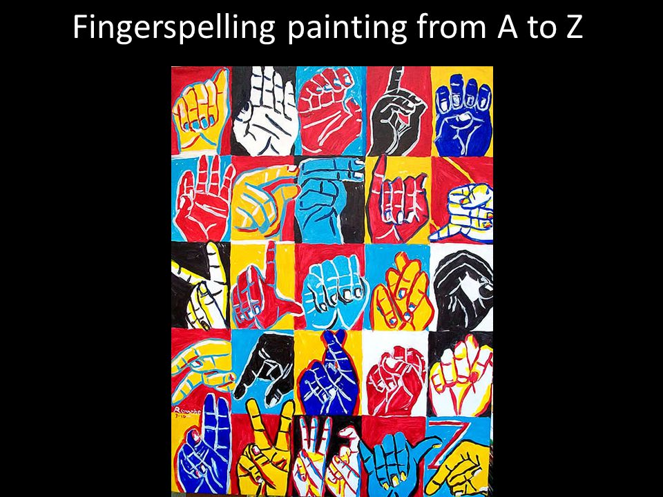 Fingerspelling painting from A to Z g