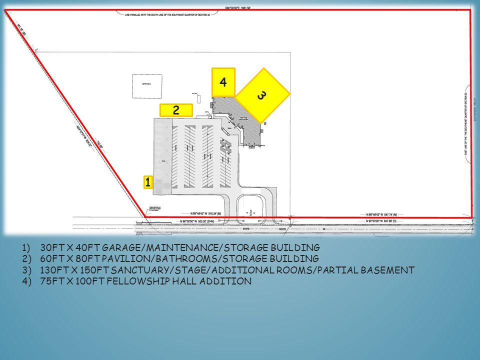 1 1)30FT X 40FT GARAGE/MAINTENANCE/STORAGE BUILDING 2)60FT X 80FT PAVILION/BATHROOMS/STORAGE BUILDING 3)130FT X 150FT SANCTUARY/STAGE/ADDITIONAL ROOMS/PARTIAL BASEMENT 2 3