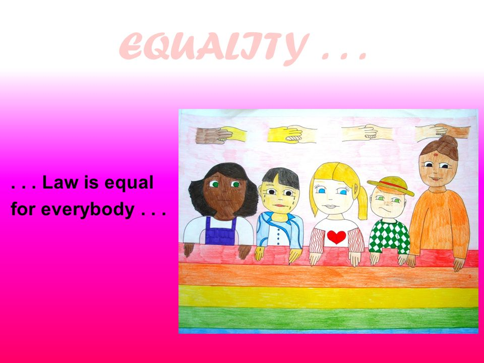 EQUALITY...... Law is equal for everybody...