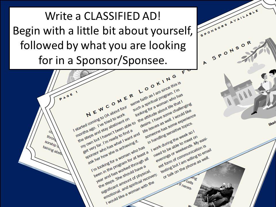 Write a CLASSIFIED AD.