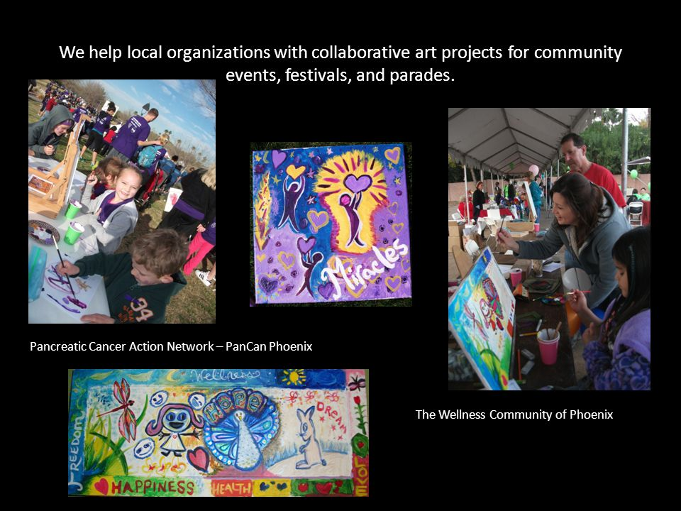 We help local organizations with collaborative art projects for community events, festivals, and parades.