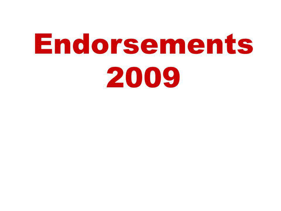 Endorsements 2009