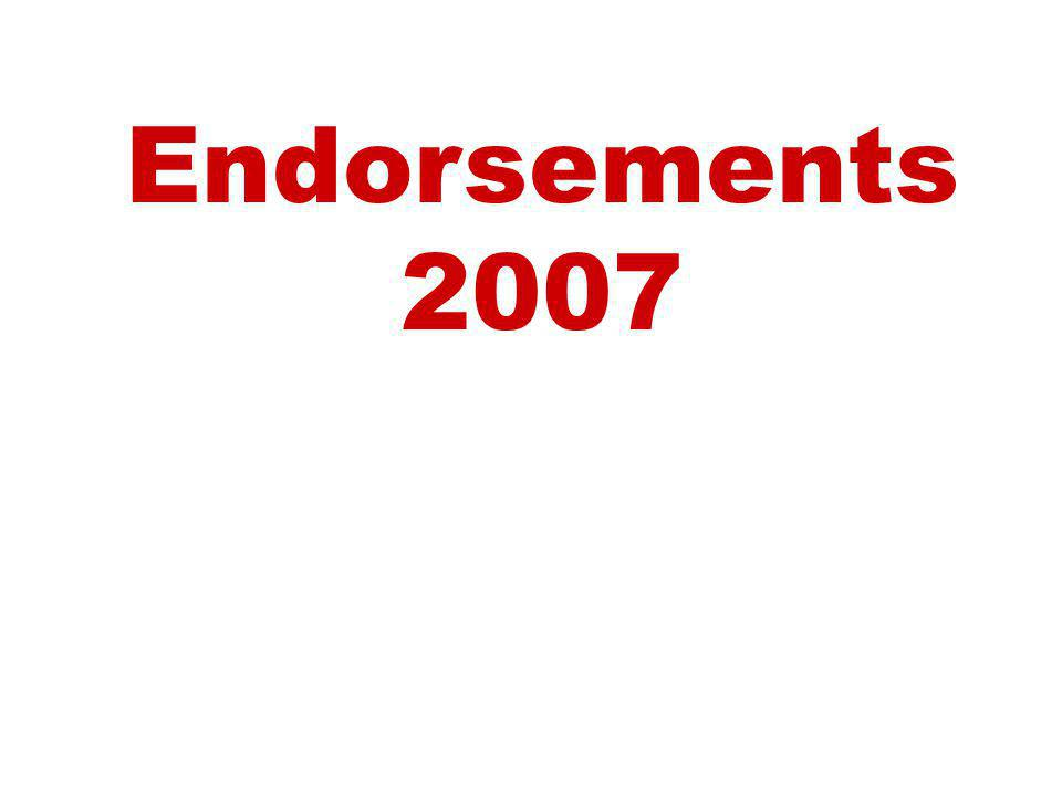 Endorsements 2007