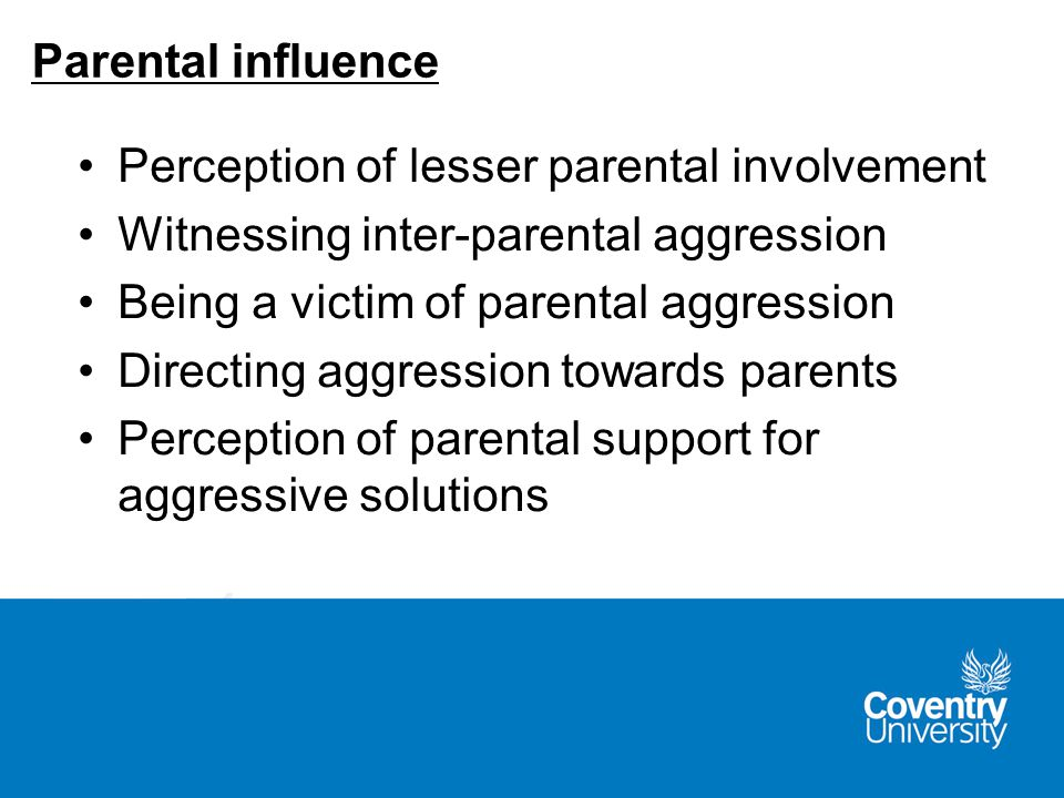 Perception of lesser parental involvement Witnessing inter-parental aggression Being a victim of parental aggression Directing aggression towards parents Perception of parental support for aggressive solutions Parental influence