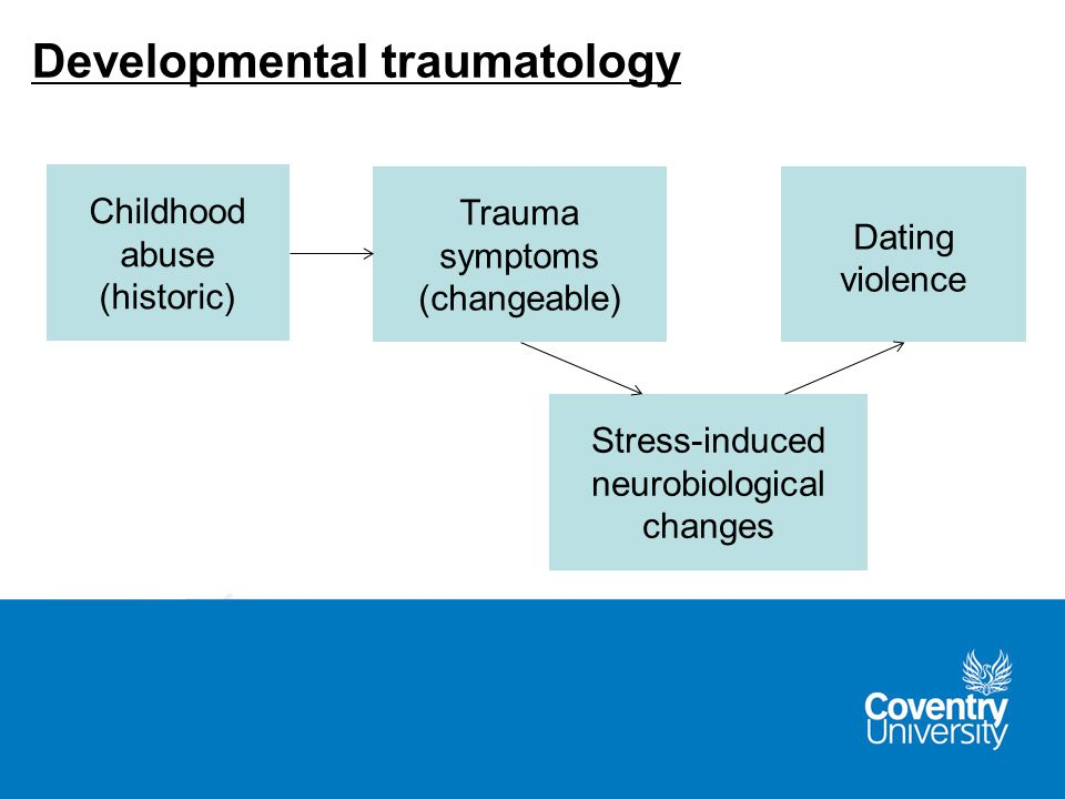 Childhood abuse (historic) Stress-induced neurobiological changes Dating violence Trauma symptoms (changeable) Developmental traumatology