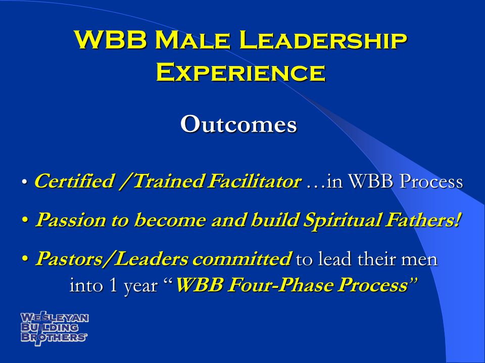WBB Male Leadership Experience Outcomes Certified /Trained Facilitator …in WBB Process Certified /Trained Facilitator …in WBB Process Passion to becom