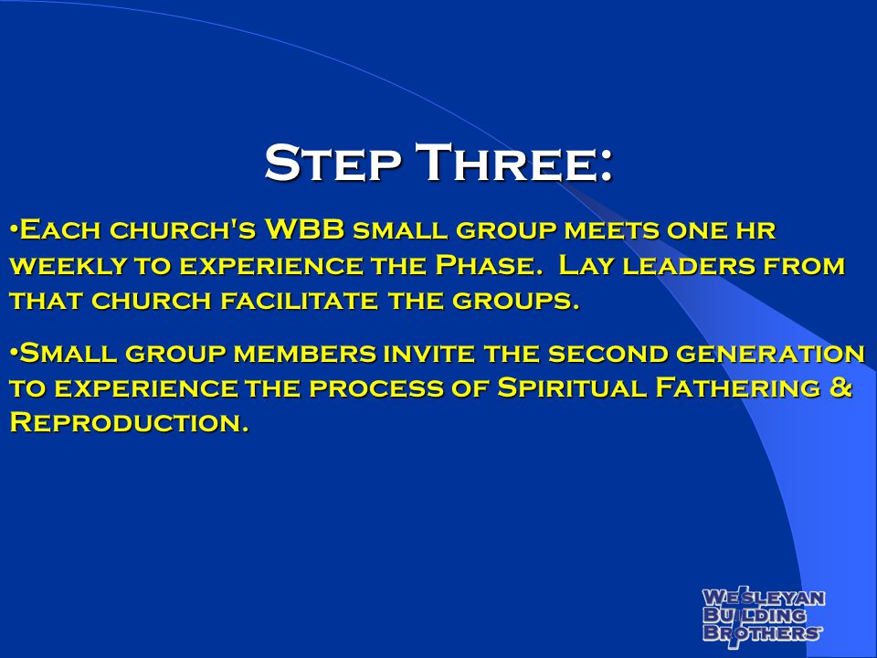 Step Three: Each church's WBB small group meets one hr weekly to experience the Phase. Lay leaders from that church facilitate the groups. Each church