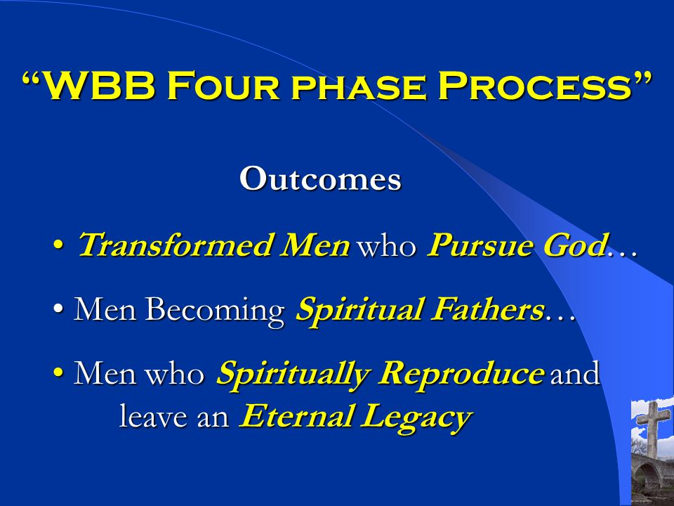 WBB Four phase Process Outcomes Transformed Men who Pursue God… Transformed Men who Pursue God… Men Becoming Spiritual Fathers… Men Becoming Spiritual Fathers… Men who Spiritually Reproduce and leave an Eternal Legacy Men who Spiritually Reproduce and leave an Eternal Legacy