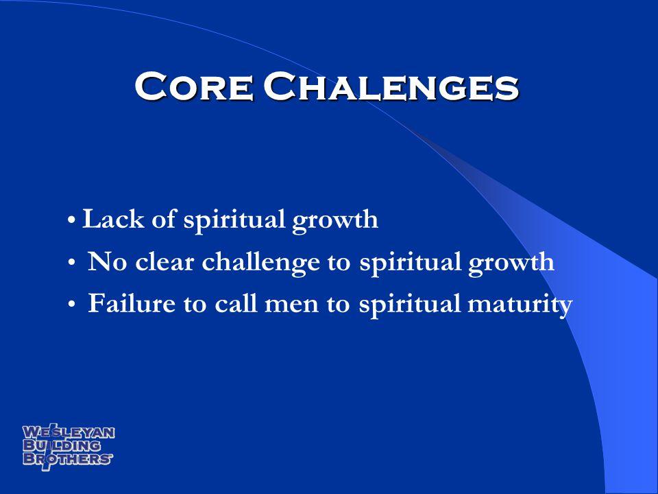 Core Chalenges Lack of spiritual growth No clear challenge to spiritual growth Failure to call men to spiritual maturity