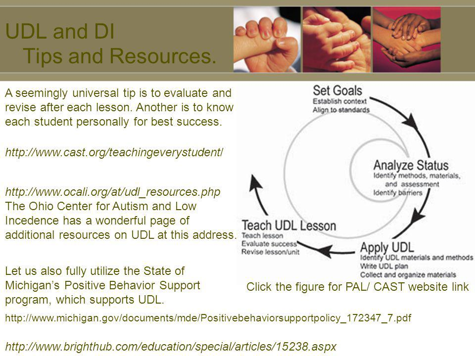 UDL and DI Tips and Resources. Click the figure for PAL/ CAST website link A seemingly universal tip is to evaluate and revise after each lesson. Anot