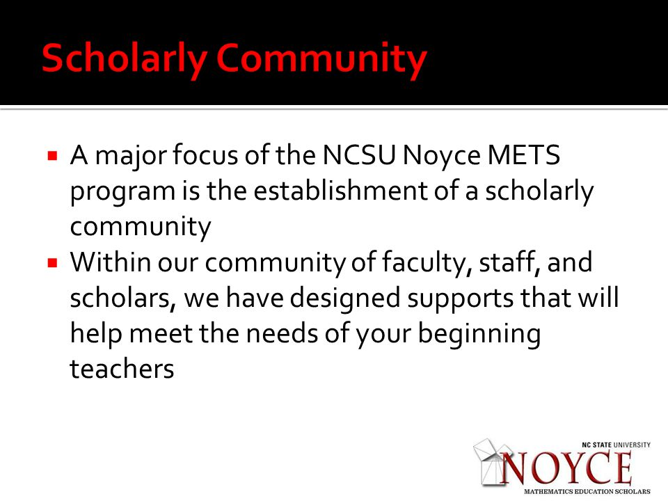 A major focus of the NCSU Noyce METS program is the establishment of a scholarly community Within our community of faculty, staff, and scholars, we have designed supports that will help meet the needs of your beginning teachers