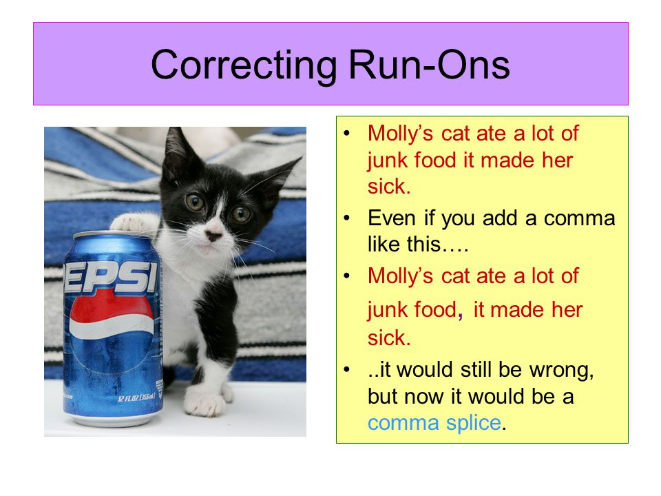 Correcting Run-Ons Mollys cat ate a lot of junk food it made her sick. Even if you add a comma like this…. Mollys cat ate a lot of junk food, it made