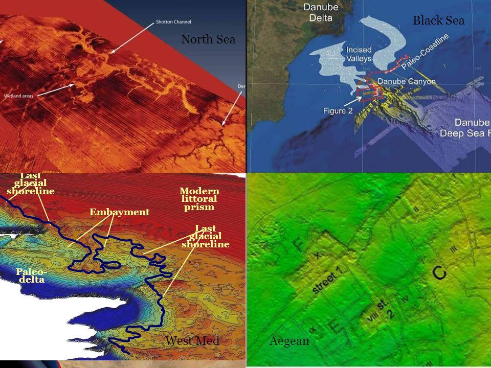 Modern littoral prism Last glacial shoreline Paleo- delta Last glacial shoreline Embayment North Sea Black Sea AegeanWest Med