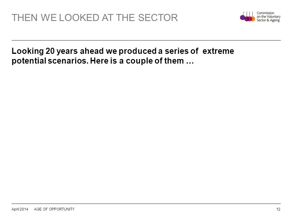 THEN WE LOOKED AT THE SECTOR Looking 20 years ahead we produced a series of extreme potential scenarios.