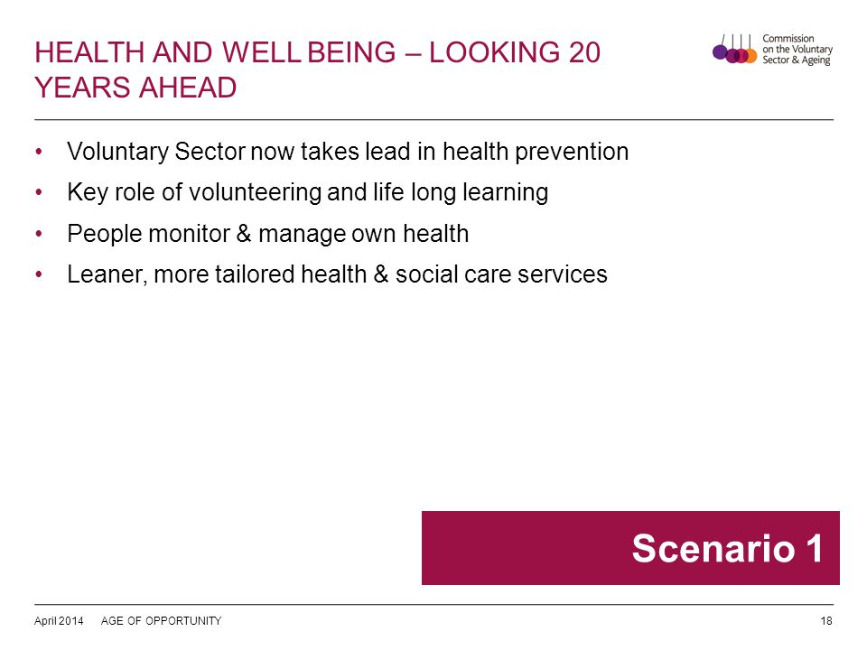 HEALTH AND WELL BEING – LOOKING 20 YEARS AHEAD Voluntary Sector now takes lead in health prevention Key role of volunteering and life long learning People monitor & manage own health Leaner, more tailored health & social care services April 2014AGE OF OPPORTUNITY18 Scenario 1