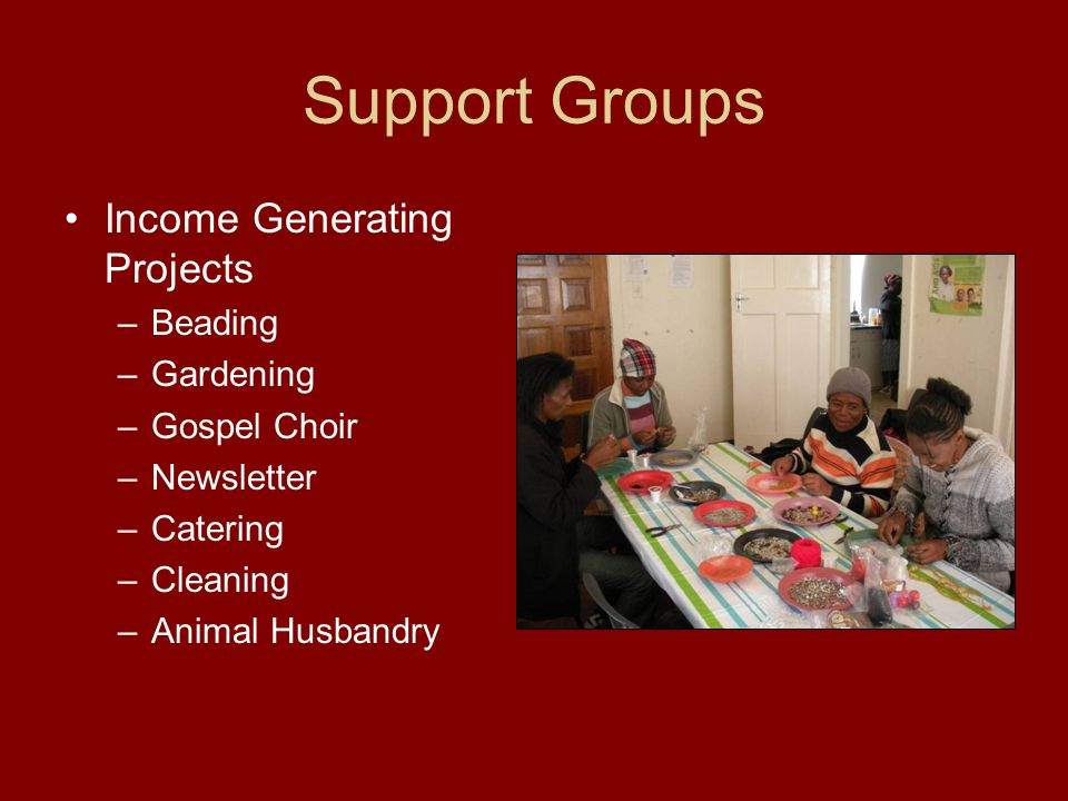 Support Groups Income Generating Projects –Beading –Gardening –Gospel Choir –Newsletter –Catering –Cleaning –Animal Husbandry