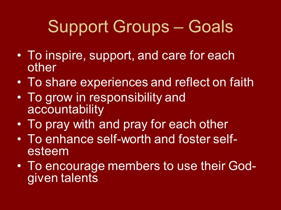 Support Groups – Goals To inspire, support, and care for each other To share experiences and reflect on faith To grow in responsibility and accountabi