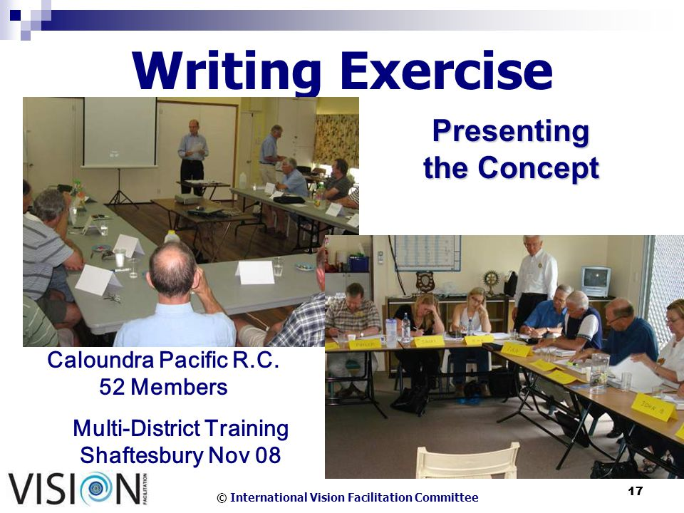 © International Vision Facilitation Committee 17 Writing Exercise Presenting the Concept Caloundra Pacific R.C.