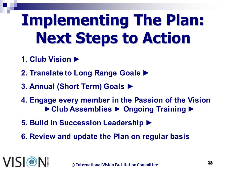 © International Vision Facilitation Committee 23 23 Implementing The Plan: Next Steps to Action 1.