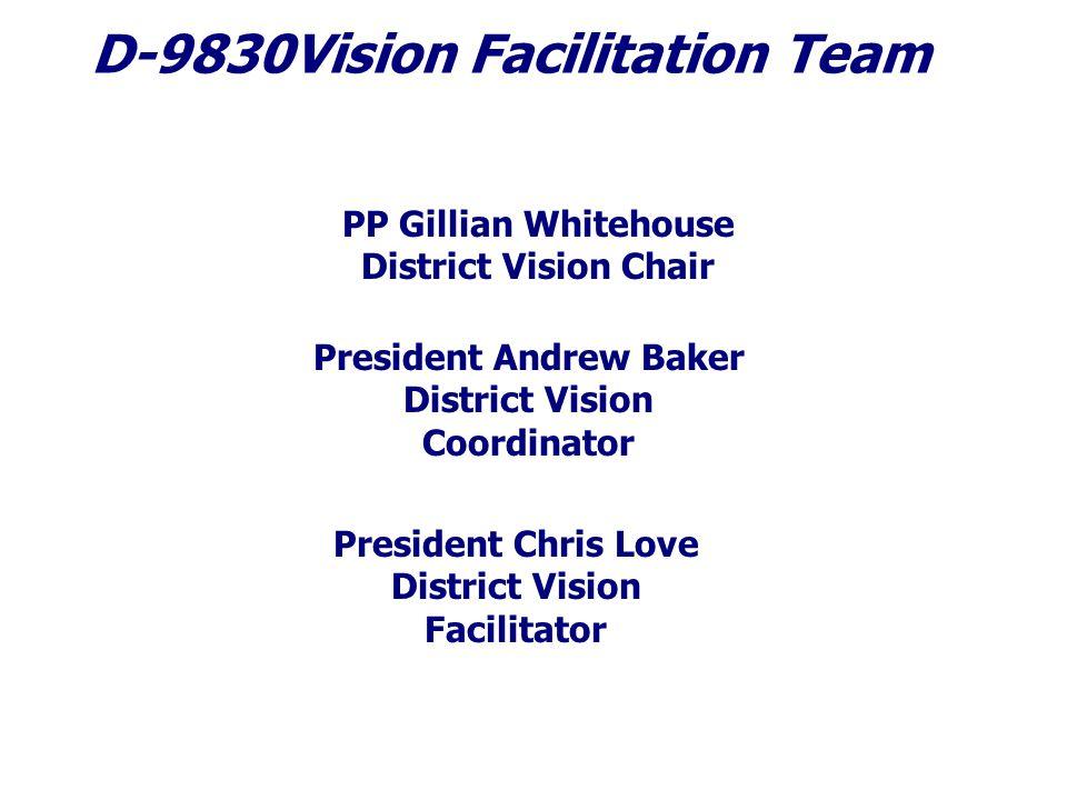 D-9830Vision Facilitation Team PP Gillian Whitehouse District Vision Chair President Andrew Baker District Vision Coordinator President Chris Love District Vision Facilitator