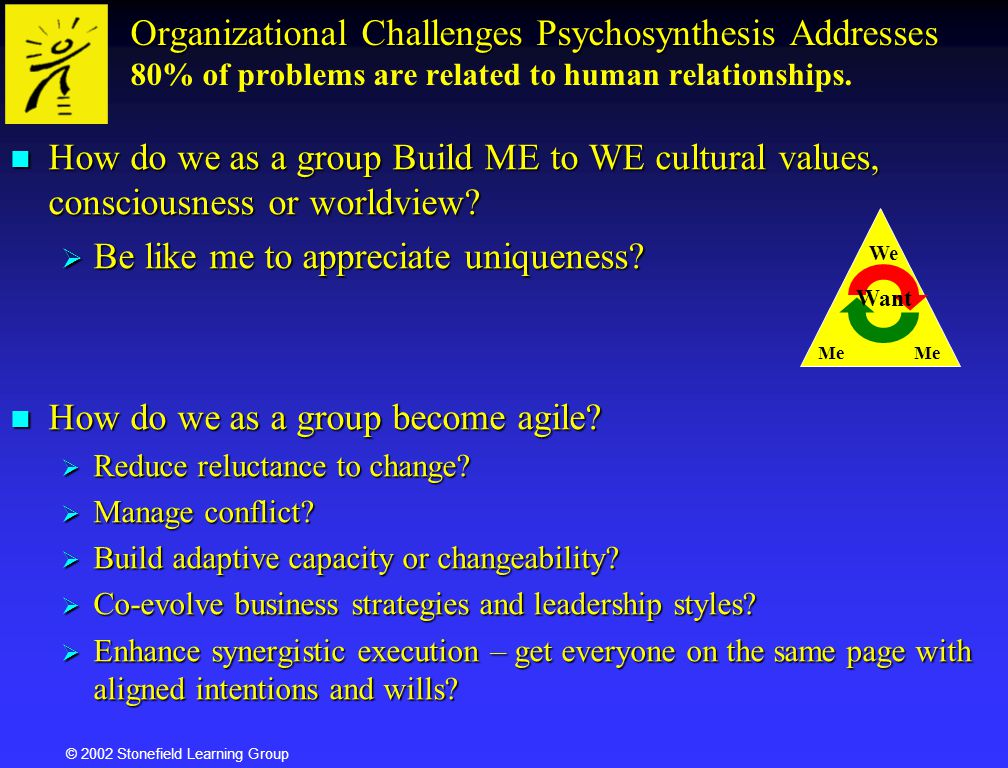© 2002 Stonefield Learning Group Organizational Challenges Psychosynthesis Addresses Organizational Challenges Psychosynthesis Addresses 80% of proble