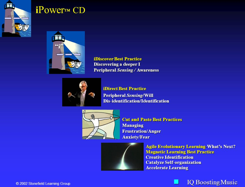 © 2002 Stonefield Learning Group i Power CD iDirect Best Practice Peripheral Sensing/Will Dis-identification/Identification Agile Evolutionary Learnin