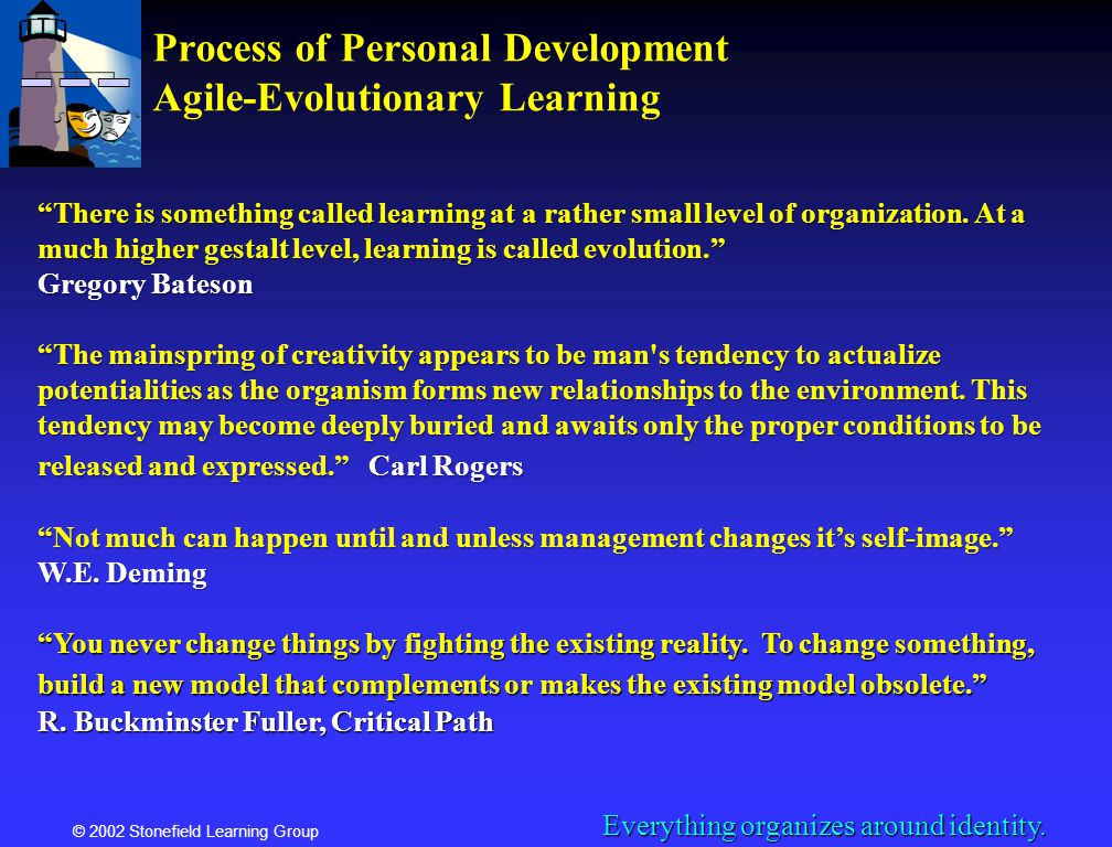 © 2002 Stonefield Learning Group Process of Personal Development Agile-Evolutionary Learning There is something called learning at a rather small leve