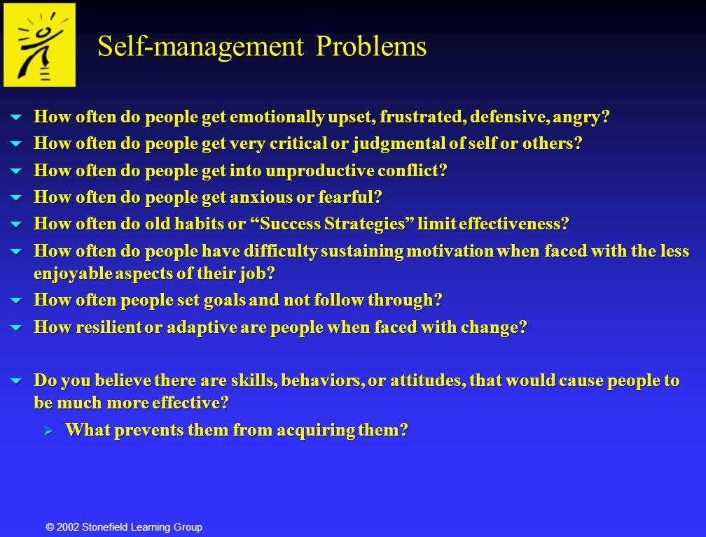 © 2002 Stonefield Learning Group Balancing Subpersonalities Everything organizes around identity.